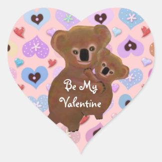 Cuddly Koala Valentine Heart Sticker