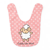 Cuddly Like Wool, Cute Sheep for Baby Girls Bib