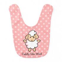 Cuddly Like Wool, Cute Sheep for Baby Girls Bib