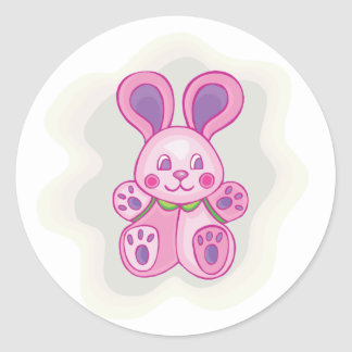 Cuddly Pink Bunny Sticker