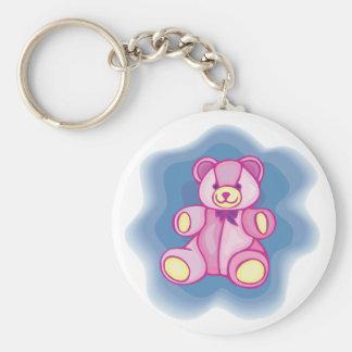 Cuddly Pink Teddy Bear Basic Round Button Keychain