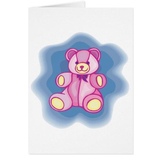 Cuddly Pink Teddy Bear Greeting Card