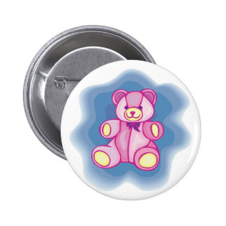 Cuddly Pink Teddy Bear Pinback Buttons