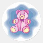 Cuddly Pink Teddy Bear Round Sticker
