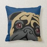 Cuddly Pug Throw Pillow