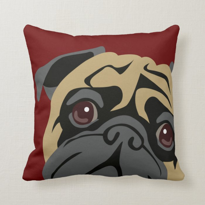 Cuddly Pug Throw Pillow Zazzle