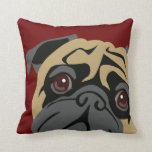 Cuddly Pug Throw Pillows