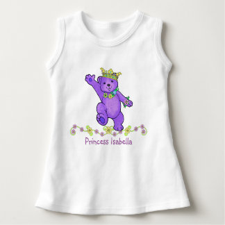 Cuddly Purple Princess Bear and Flowers Custom Dress