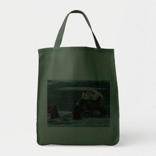 cuddly Sea Otter shopping bag