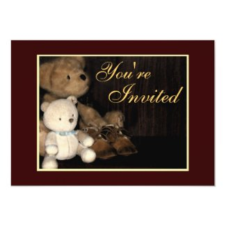 "Cuddly Teddy Bear & Baby Shoes Invitation 5"" X 7"" Invitation Card"