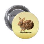 Cuddly Vegan Herbivore Wild Bunny Yellow Pinback Button
