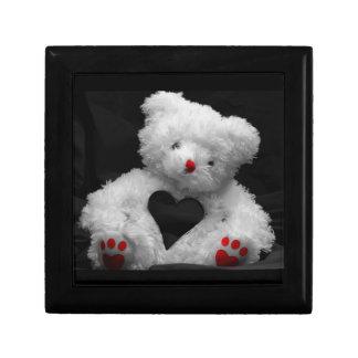 Cuddly White Heart Teddy Bear Design Jewelry Box