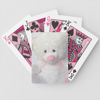 Cuddly White Teddy Bear Bicycle Playing Cards