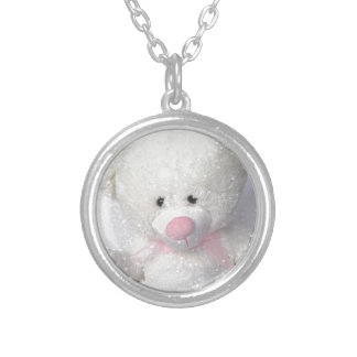 Cuddly White Teddy Bear Round Pendant Necklace