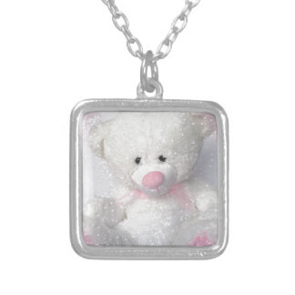 Cuddly White Teddy Bear Square Pendant Necklace