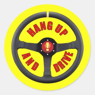 Cuelgue para arriba y conduzca pegatina redonda