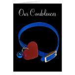 Cuello azul, amor rojo del gato del corazón tarjeta