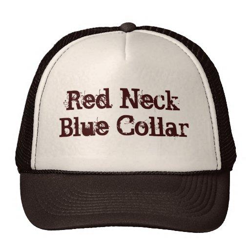 Cuello azul del cuello rojo gorros bordados