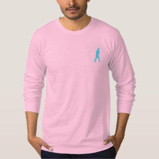 Cuello barco largo rosado de la manga con el playera