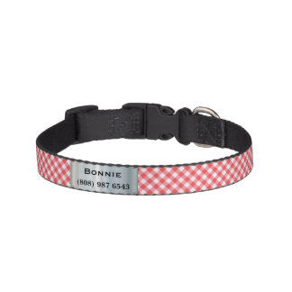 Cuello de perro a cuadros rojo con nombre y número collar para perro