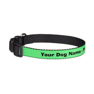 Cuello de perro rayado verde de neón personalizado collar de perro