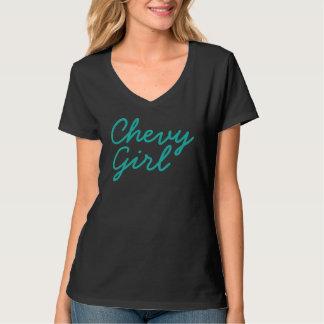 Cuello en v del chica de Chevy Playera