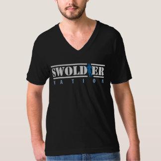 Cuello en v negro de la nación de Swoldier Polera