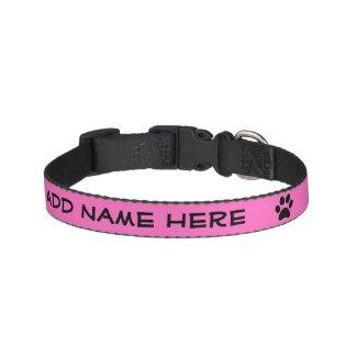Cuello negro rosado brillante personalizado del ma collares para perros
