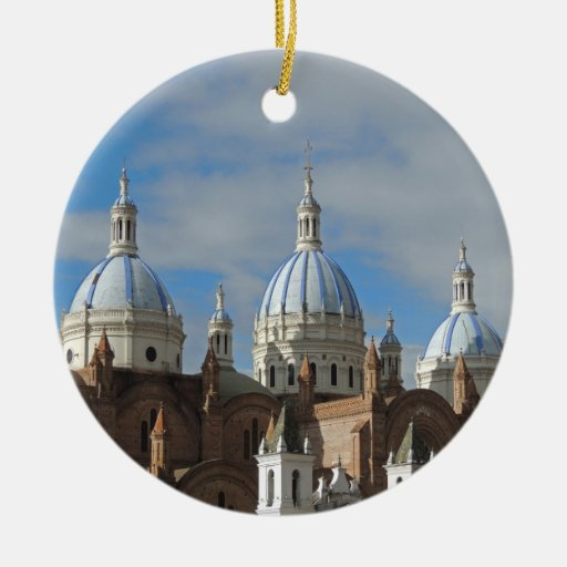 Cuenca, Ecuador - New Cathedral Double-Sided Ceramic Round Christmas Ornament