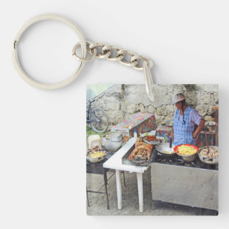 Cuenca-Sidewalk Cafe-Grilled Pork Double-Sided Square Acrylic Keychain