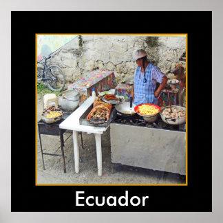 Cuenca-Sidewalk Cafe-Grilled Pork Poster