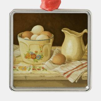 Cuenco 1175 de huevos y de jarra adorno navideño cuadrado de metal