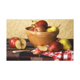 Cuenco 3933 de vida de las manzanas y todavía de l lona estirada galerías