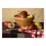 Cuenco 3933 de vida de las manzanas y todavía de tarjeta de felicitación