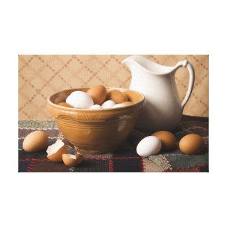 Cuenco 4061 de huevos y todavía de la jarra de vid impresion en lona