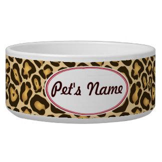 Cuenco adaptable del perro del estampado leopardo tazon para perro