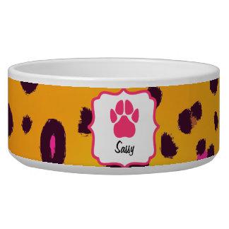 Cuenco anaranjado del mascota del estampado leopar boles para gatos