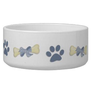 Cuenco azul del perro de las patas de los huesos tazones para perro