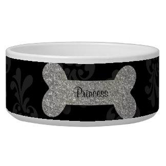 Cuenco brillante de plata personalizado del alimen bol para perro