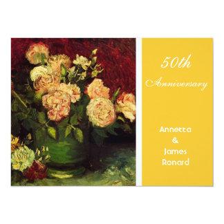"""Cuenco con los Peonies y los rosas de Vincent van Invitación 5.5"""" X 7.5"""""""