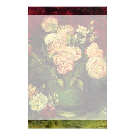 Cuenco con los Peonies y los rosas de Vincent van Personalized Stationery