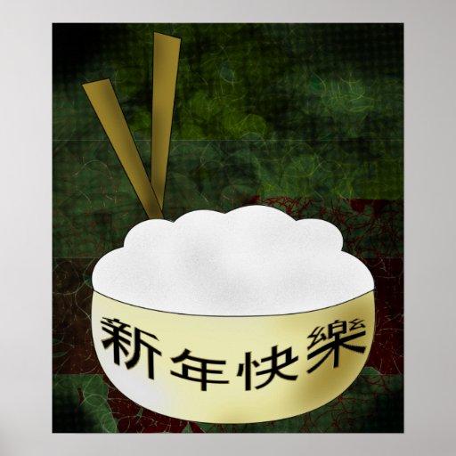 Cuenco de arroz de la Feliz Año Nuevo Posters