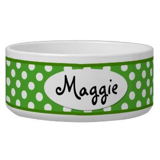 Cuenco de cerámica personalizado lunar verde del p tazón para perro