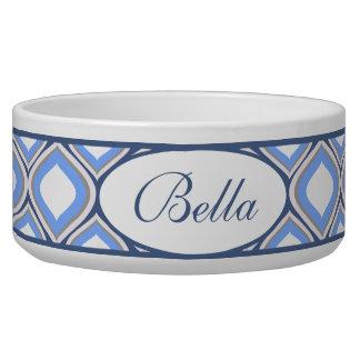 Cuenco de cerámica personalizado Ogee azul del Comedero Para Mascota