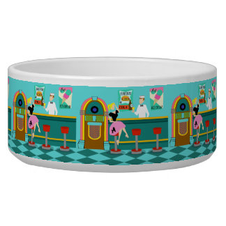 Cuenco de cerámica retro del perro de la fuente de boles para gatos
