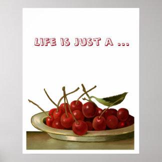 Cuenco de cerezas adaptables póster