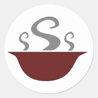 Cuenco de cocer a los pegatinas de la sopa al pegatinas redondas