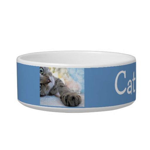 Cuenco de encargo del mascota del gato de Tabby Bol Para Gato
