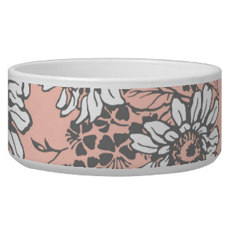 Cuenco de encargo floral coralino intrépido del pe boles para gatos