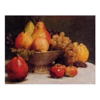 Cuenco de Enrique Fantin-Latour- de fruta Tarjeta Postal